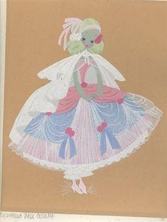 Cinderella concept art 1950s - ball gown - Disney