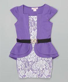 Love this Unik Purple Belted Peplum Dress - Toddler & Girls by Unik on #zulily! #zulilyfinds