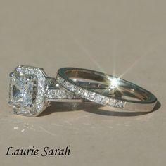 Elongated Princess Cut Diamond Engagement Ring and Wedding Set - LS1394