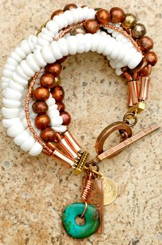 Mykonos Bracelet: White Puka Shell and African Copper Multi-Strand Charm Bracelet