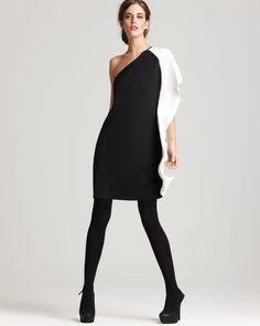 Aqua color block one shoulder dress black and white