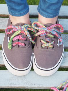 Rainbow Lace using embroidery floss. Why have dull shoe laces?