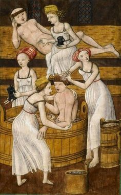 Monks in the bath 1490 Bohemia - love the ladies' 'chemises'