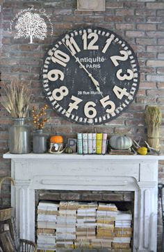 Autumn Mantel 2013 from: http://cottageintheoaks.com/2013/10/autumn-mantel-autumn-inspiration/  LOVE this! Want to make the faux clock... just 'cause it's amazing.
