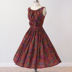 1950s Dress 50s MultiColor Cotton Fleur De Lis by daisyandstella, $135.00