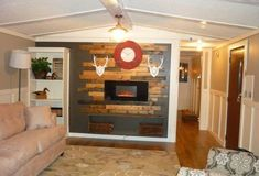 love the ceilingl and beams and wainscotting ///// modern single wide makeover