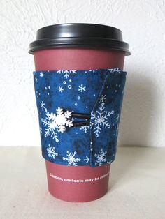 Fabric Coffee Cozy Navy Blue Snowflake Design by ThreadBasket