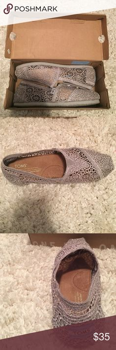 Gray crochet Toms NWT Grey crochet lace Toms brand new. Size 6.5, fit a little small. TOMS Shoes Flats & Loafers