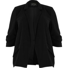 River Island Plus black ruched sleeve blazer ($110) ❤ liked on Polyvore featuring outerwear, jackets, blazers, blazer, black, coats / jackets, women, slim blazer, river island and slim blazer jacket