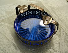 Cobalt Blue Glass and Silver Ashtray Classic Art Deco Design