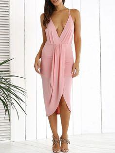 a58cd9b51ee5b Low Cut Draped Party Wear Tulip Dress