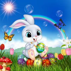 Cute bunny easter background with rainbow vector 07