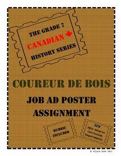 Grade 7 Canadian History Coureur de Bois Job Ad Assignment