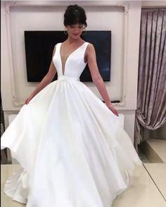 A-line Plunge Neck Floor Length Satin Wedding Dresses 2nd Wedding Dresses, V Neck Wedding Dress, Gorgeous Wedding Dress, One Shoulder Wedding Dress, Champagne Dress, Wedding Dress Accessories, Dress Cuts, Pretty Dresses, Bridal Gowns