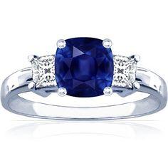 18K White Gold Cushion Cut Blue Sapphire Three Stone Ring | #Jewelry #Pins