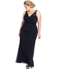 Xscape Plus Size Dress, Sleeveless Beaded Surplice Gown - Plus Size Dresses - Plus Sizes - Macy's