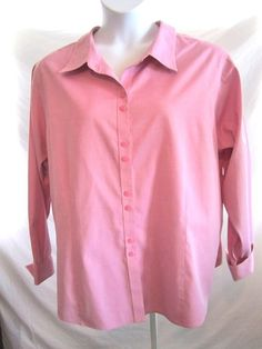 Sz 24W Investments II Gold Label Shirt LS BF Mauve Pink Non Iron Cotton Career   eBay