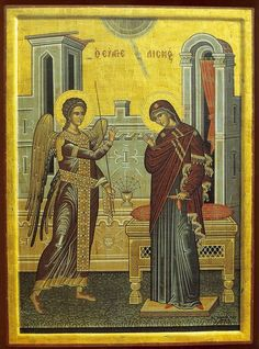 Eastern orthodox icon of the Annunciation of the Most Holy Theotokos, Panagia, Virgin Mary, the Mother of God Copy of an icon of 12 cent. Church Icon, Byzantine Icons, Renaissance Paintings, Sacred Feminine, Madonna And Child, Blessed Virgin Mary, Orthodox Icons, Sacred Art, Christianity