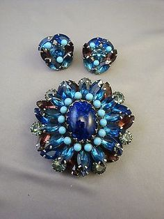 ALICE-CAVINESS-Pin-Clip-Earrings-Set-Large-Flower-GORGEOUS-Blue-Hues