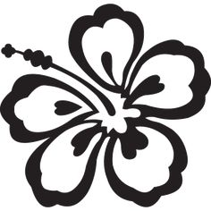 black and white floral clipart | hawaiian flower clip art black and white