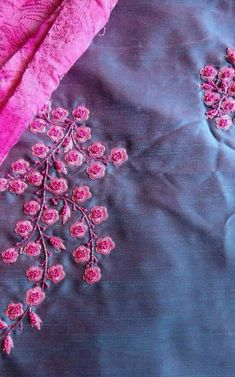 20 Ideas For Embroidery Patterns On Kurtis Neck Zardozi Embroidery, Embroidery On Kurtis, Kurti Embroidery Design, Hand Embroidery Flowers, Hand Work Embroidery, Flower Embroidery Designs, Simple Embroidery, Embroidery Fashion, Silk Ribbon Embroidery