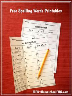 Free Spelling List And Spelling Test Printables - PK1HomeschoolFUN