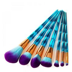 Cheap makeup brush set, Buy Quality brush set directly from China makeup brush set foundation Suppliers: Diamond Makeup Brushes Set Foundation Blending Powder Eyeshadow Contour Concealer Blush Cosmetic Beauty Make Up Tools Teal Makeup, Le Contouring, Eyeliner, Blaues Make-up, It Cosmetics Foundation, Too Faced Concealer, Unicorn Makeup, Mermaid Makeup, Maybelline