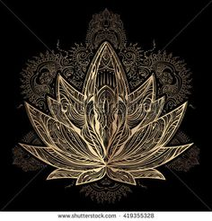 Hand Drawn Ornate Vector Ornamental Lotus Stock Vector (Royalty Free) 500770042 Hand drawn beautiful artwork of isolated ornate Lotus for tattoo, printing on T-shirt, coloring bo Mandala Art, Mandala Hand Tattoos, Crystal Drawing, Knee Tattoo, Magic Design, Laser Art, Tatuagem Old School, Yoga Art, Fractal Art