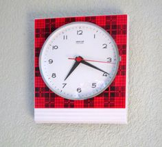 Vintage German 1960s GONG Red Tartan Wall Clock  by Decofanatique