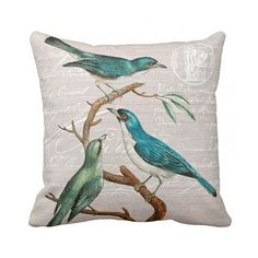 Lovely vintage turquoise bird pillow with french script by Jolie Marche.