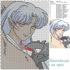 Sesshomaru 2 free cross stitch pattern 140x199 17 colors