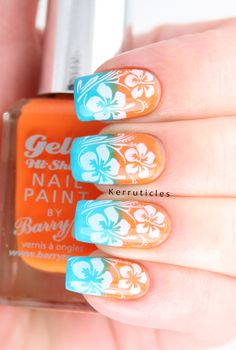 Hawaiian Hibiscus Stamped Gradient: Tropical: GOT Polish Challenge