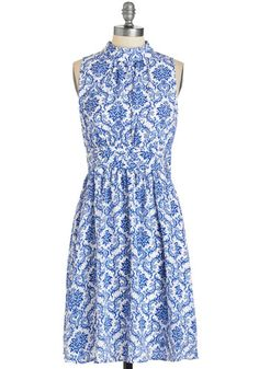 Windy City Dress in Delft - Woven, White, Print, Daytime Party, A-line, Sleeveless, Spring, Summer, Blue, Other Print, Exclusives, Variation, Private Label, Special Occasion, Mid-length