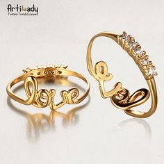 """Artilady fashion design romantic """"love """" character rings charm top quality gold plated copper ring women jewelry"""
