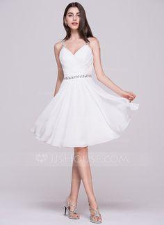 A-Line/Princess V-neck Knee-Length Chiffon Homecoming Dress With Ruffle Beading Sequins (022068065) - JJsHouse