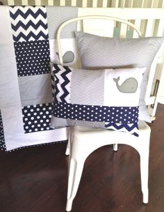 Moby Whale Baby boy Quilt and two cushion covers by AlphabetMonkey