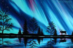 Northern lights painting Gift Aurora borealis art Large wall