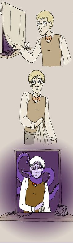 Hans, the head canon that everyone in Night Vale's appearance changes. With Cecil, the shift was fast and abrupt so his mother covered the mirrors. One day he peeked and shattered himself. That's why he calls Carlos perfect. So if Carlos ever changes, Cecil will still call him perfect. Paraphrased because the original is so beautiful.