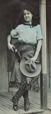 Oklahoma cowgirl with pistol & spurs blouse tinted blue real photo Cowgirl And Horse, Cowboy And Cowgirl, Cowgirl Style, Old West Outlaws, Old West Photos, Poster Print, Vintage Cowgirl, Into The West, Pop Art