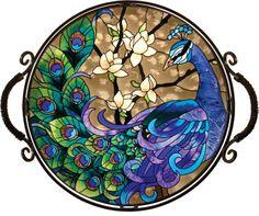 Joan Baker Hand Painted Peacock  GlassTray