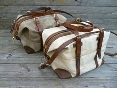 Holdall MK ll Bag - Vintage Canvas and Light Khaki Waxed Canvas - Harness Leather.
