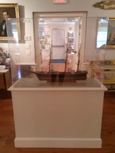 """Photo taken 2014: Model of the ship """"Flying Cloud"""" in glass display case. Object ID: 2012.037.001. Gift of the Value Family. The Flying Cloud, a clipper ship, was the masterpiece of Donald D. Mckay. The foremost marine architect and shipbuilder of his time. As seen in the Atwood House Museum Nickerson Portrait Gallery. #flyingcloud, #modelship, #ship, #atwoodhouse, #chathamhistoricalsociety, #chatham, #capecod"""