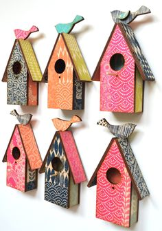 Screenprinted,laser cut birdhouses