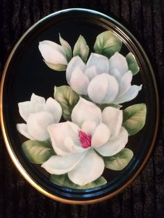 Magnolias on porcelain by Shirley Dyer Weston