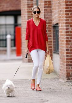 Olivia Palermo red cardigan and white jeans