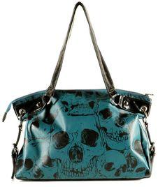 Blues Edgy Goth Skeleton Skull Vegan Handbag Purse Tote Black Blue