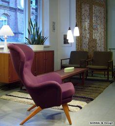 "Carl-Gustav Hiort af Ornäs, ""Lehti""-nojatuoli, Puunveisto O - Antiikki & Design - AntiikkiShop"