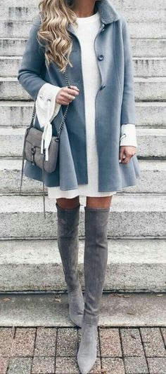 #Winter #Outfits / Gray Coat + White Sweater Dress