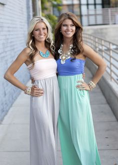 PEACH AND KHAKI Strapless Maxi Dress with Cinched Bust with Two Side Pockets Maxi Dress
