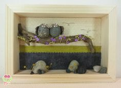 3d picture with two cute owls in love on a blossom tree Pebbleart - 3dArt - Pebble art and wire - Pebble and driftwood - Owls of stones - Cute Owls - My stone's artworks on Etsy https://www.etsy.com/it/listing/222890330/pebble-art-and-wire-quadro-3d-gufetti